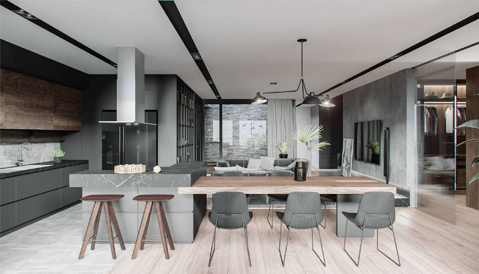 With such a chic spacious kitchen, you are bound to feel free and relaxed. As you can see the prevailing color in the kitchen is grey. The large dining table of grey blends fine with both the walls and all other kitchen furniture pieces. The room is equipped with the most important contemporary household appliances that make this space not only fully functional, but also stylish. Don't you want to have your kitchen similar to this? Our professional interior designers are always pleased to help you with it. Don't hesitate to call our managers and order the best interior design service in NYC from Grandeur Hills Group right now!