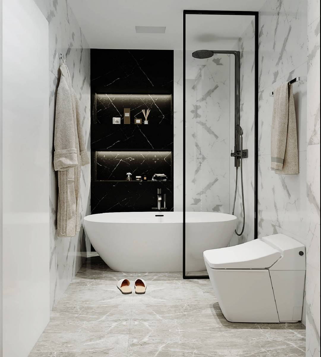 This bathroom is decorated in black and white. The black cabinets contrast beautifully with the white walls, ceiling, floor, freestanding bathtub and one-piece toilet, evoking a feeling of relaxation, peace, warmth, and comfort. Despite the small size of the bathroom, it does not look cramped thanks to the right colors, as well as the small amount of the most important pieces of furniture and sanitary engineering. The Grandeur Hills Group design studio is always pleased to help you with designing your bathroom so that it may completely meet your wishes, tastes, and needs.