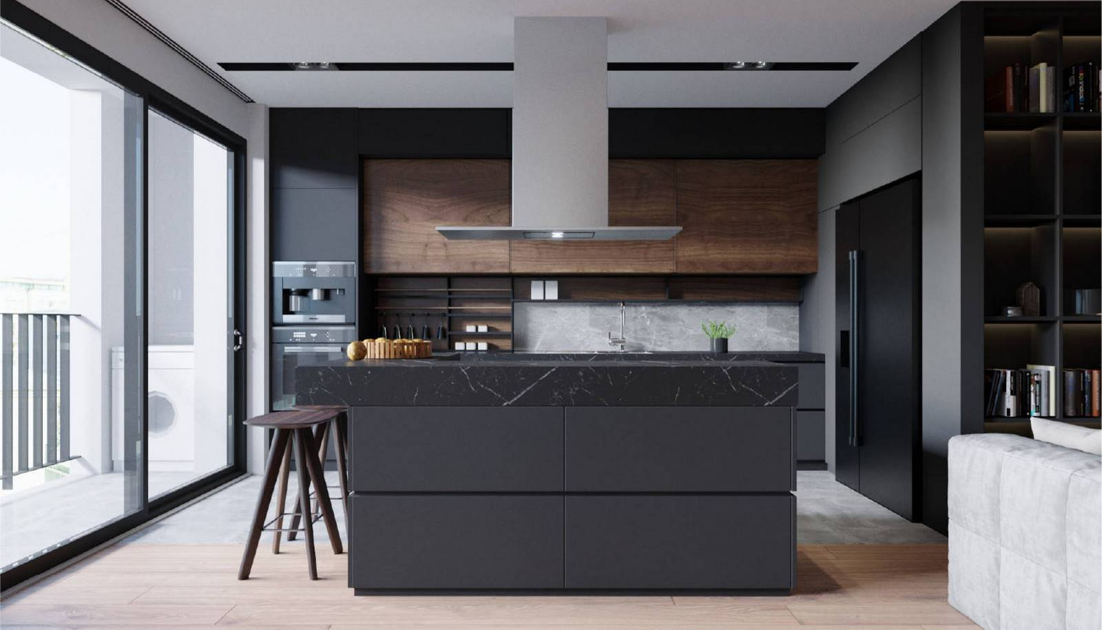 Despite the fact that black and its shades prevail in the interior design of this kitchen, the room does not seem too gloomy thanks to the wide windows, through which sunlight easily penetrates the space of the room. In addition, the room is equipped with a few different types of lighting, including elegant miniature fixtures embedded in the ceiling, stylish pendant lights positioned directly above the kitchen island, as well as a few beautiful fixtures embedded in hanging kitchen cabinets. If you wish your kitchen looked like this one, be certain to contact Grandeur Hills Group interior designers who are sure to make your kitchen stand out!
