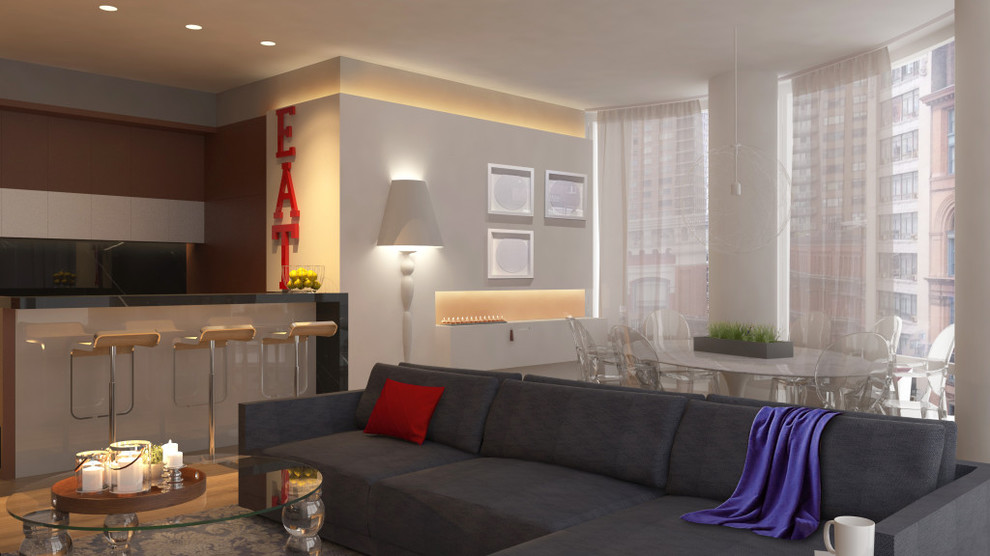 Despite the fact that this dining room is designed in a minimalist style, it is equipped with all the necessary contemporary household appliances and stylish multifunctional furniture pieces. Pay attention to the abundance of different lamps, some of which are built into the ceiling, and the rest are placed in different parts of the dining room, providing the entire interior with even, warm and soft light. Make your dining room attractive, comfortable and fully functional along with our top interior designers!
