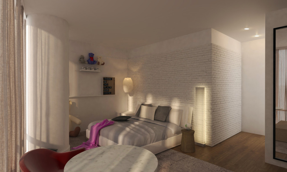 Pay attention to the light in this bedroom. Thanks to the large windows, the bedroom receives enough sunlight during the day, which harmoniously matches the color of the walls and the entire interior of the bedroom. In the evening, the bedroom is illuminated by an original lighting system. General lighting consists of small attractive ceiling-mounted fixtures. Sconces and floor lamps add artificial light to the interior of the bedroom and, in addition, act as decorative elements. Make your bedroom one of the most beautiful rooms in your home together with the best Grandeur Hills Group interior designers!