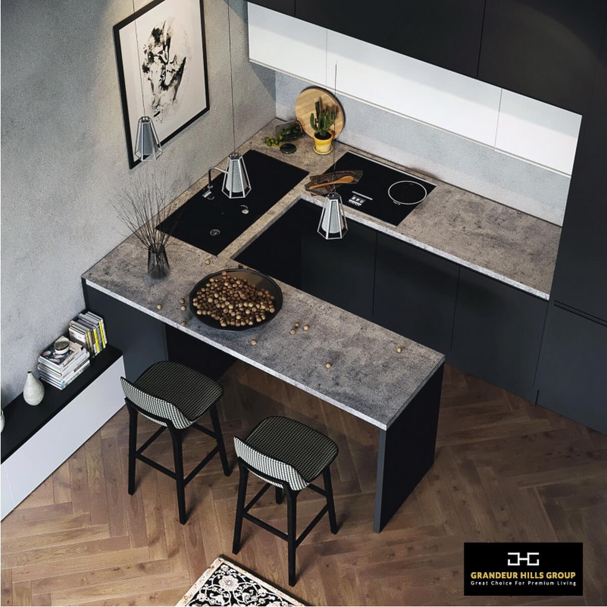 The kitchen is decorated in dark colors, the dominant of which is gray. Despite this fact, the kitchen does not look too dull thanks to the high quality lighting, which consists of several different types of fixtures. Beautiful miniature ceiling-mounted lamps act as background lighting, while large pendant ones are used here as accent lighting. You can also change the interior design of your kitchen for the better. Our top interior designers are always at your service.