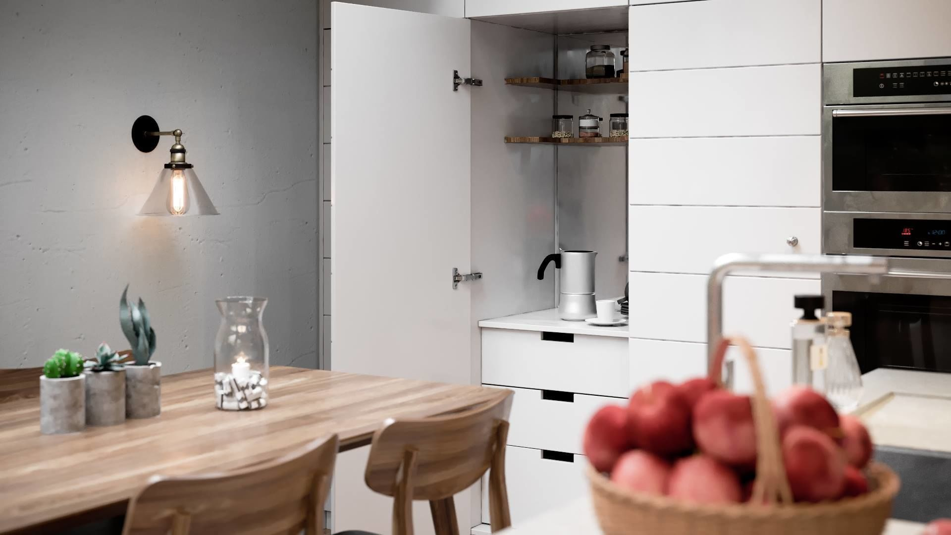 The calm tones of the kitchen interior hint at warmth, comfort, tranquility, and coziness. Despite the small size of the kitchen, all the necessary furniture is arranged so that any item may be quickly and easily accessible. A freestanding dining table with chairs around it allows the family to host many guests at the same time, and the correct arrangement of the lamps makes the room bright, warm, and friendly. Let your dreams of the perfect kitchen come true! Count on the best interior designers in the city of New York. They are certain to help you change the interior of your kitchen for the better.