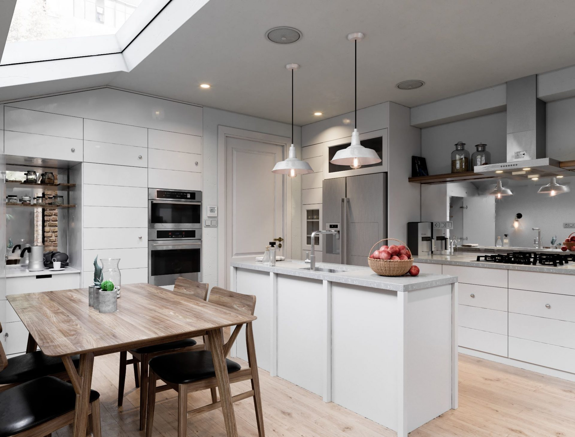 The kitchen is decorated in white and grey tones. The beige floor and dining table made of expensive wood blend fine with the other components of the interior. As the main elements, the freestanding dining table and integrated sink are in the center of the kitchen. All other furniture pieces are against the walls. Pay attention to the right lighting which allows the owners of the kitchen to quickly, easily and effectively do different works. Make your kitchen space comfortable, beautiful, and fully functional right now with our outstanding interior designers. Just call our managers and enjoy your updated kitchen!